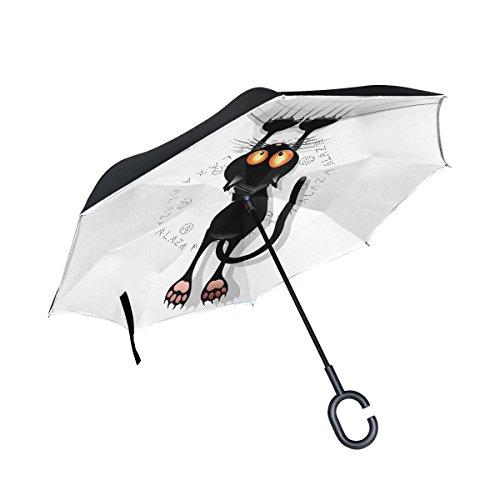 ISAOA invertido Paraguas Resistente al Viento Doble Capa reversa Plegable Paraguas para Coche Lluvia Uso al Aire Libre, Mango en Forma de C Auto pie Gato Dibujos Animados rascando Paraguas