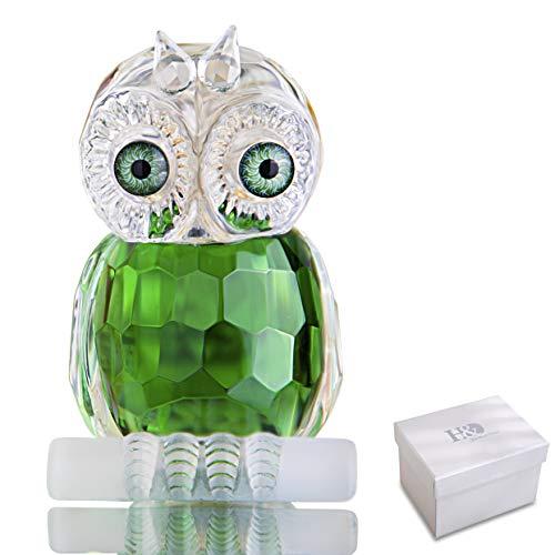H&D Grün Mini Kristall Eule Figur Sammlung Briefbeschwerer Tafelaufsatz Ornament
