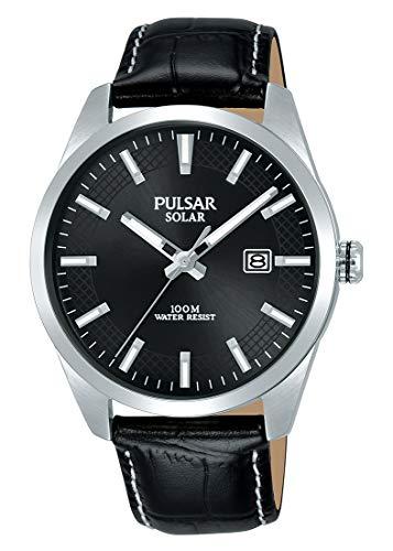 Pulsar Solar Herren-Uhr Edelstahl mit Lederband PX3185X1