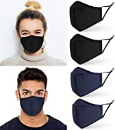 ecoTru Cotton Face Masks 4 Pack | Washable & Reusable | Filter Pocket & Adjustable Straps | UK Selle...