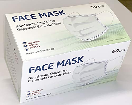 WMS Wisconsin Medical Supplies, 3-Layer Face Masks, MADE IN USA, 10 Pack Case (500 Masks)