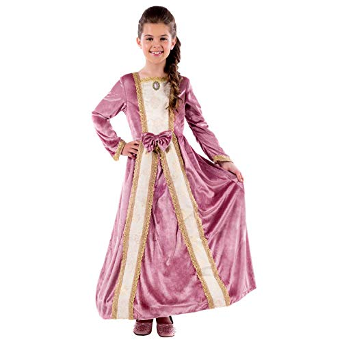 Kids Deluxe Princess Costume Girls Pink Royal Gown Queen Dress Outfit - Large