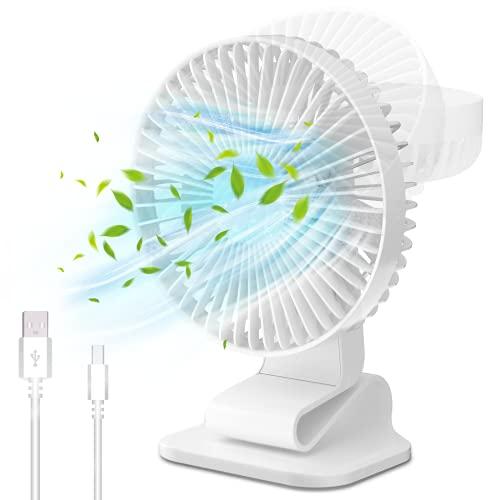 QUARED Ventilador Pequeño USB, Clip Ventilador Portatil de Sobremesa, Flexible Silencioso Ajustable Pinza Ventiladores 3 velocidades para Oficina/Casa/Fitness/Estudiantes/Cochecito de Bebé/Picnic