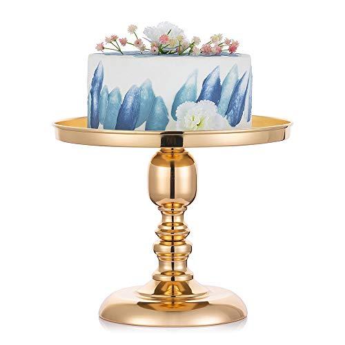 30cm Runder Metallspiegel-Tortenständer, Dessertständer mit Schwarzem Sockel, Dessert-Cupcake-Gebäck-Süßigkeiten-Ausstellungsplatte, Hochzeitsfeier-Geburtstagsfeier, Runder Rustikaler Metallständer