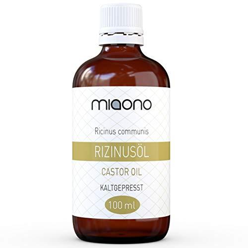 Rizinusöl 100ml kaltgepresst von miaono - Pflege für Haut, Haar, Wimpern und Augenbrauen - (Qualität aus Deutschland in Glasflasche)