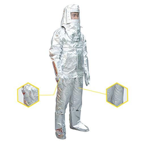 MXBAOHENG Heat Resistant Insulation Suit Anti Thermal Radiation Suit 300 degree Fireproof flameproof Composite Aluminium Foil Firefighter Uniform (XL)