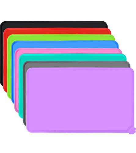 Joytale Silicone Tappetino Antiscivolo per Ciotola Cane, Impermeabile Tappetino per Gatti sotto Ciotola, Mantenere Pulito Il Pavimento,53×37cm, Viola