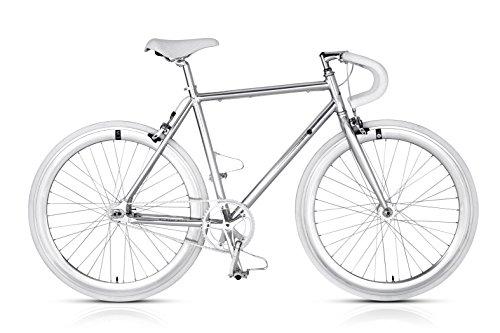 MBM Metal Bicicletta Scatto Fisso da Telaio Alluminio, Alluminio Lucido, 56 cm