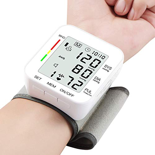 "Blood Pressure Monitor Large LCD Display & Adjustable Wrist Cuff (5.31""-7.68"") Automatic Accurate 90 * 2 Reading Memory for Home Use"