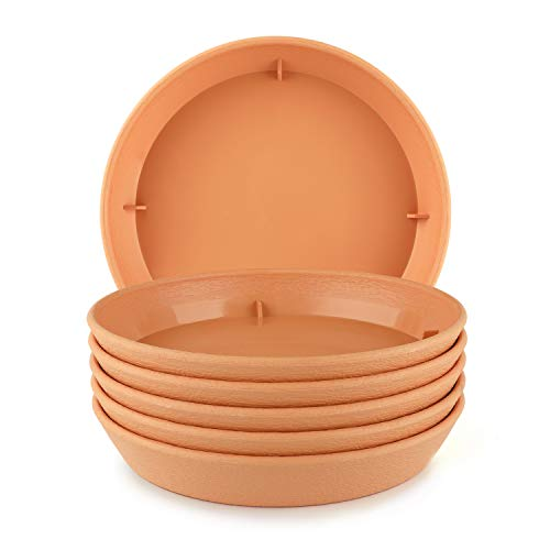 T4U Plastic Plant Pot Saucers with Faux Clay Finish 6 Inch orange Set of 6 Round Hevay Duty Small Flowerpot Tray Resin Plant Drip Saucer Base PP Coaster Pallet for Succulent Planter Pot