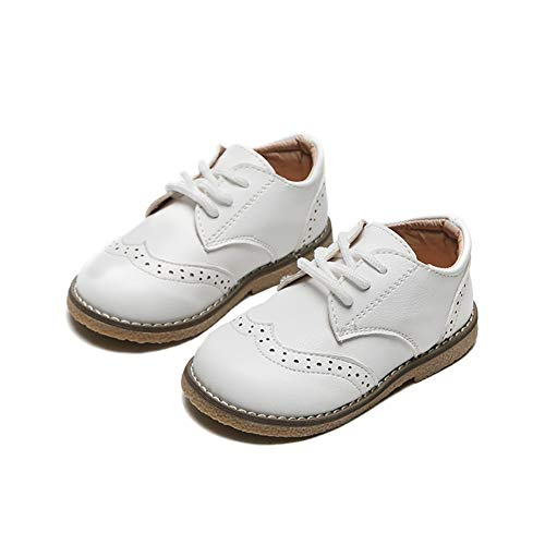 Joeupin - Zapatos de vestir para niños y niñas con cordones para...