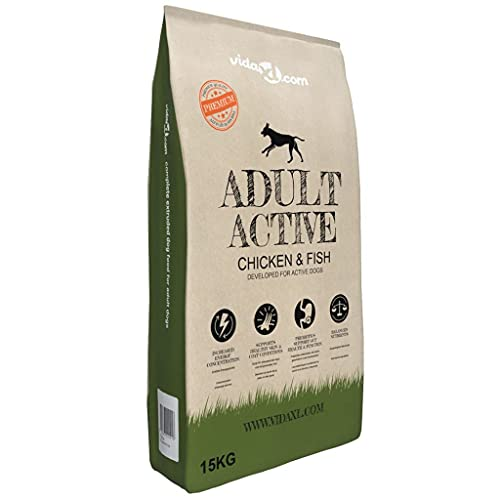 Alimento seco para Perros Adulto, Alimento para Perros Senior Alimento seco Premium para Perros Adult Active Pollo y Pescado 15 kg
