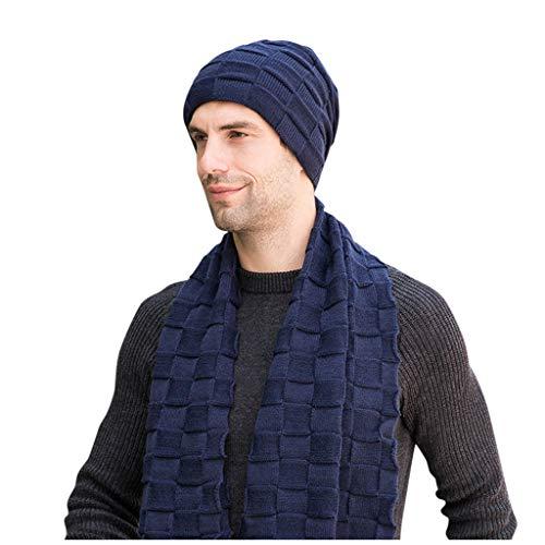 SHINEHUA Unisex wintermuts wintersjaal set heren dames muts beanie warme muts gebreide muts sjaal met fleece voering
