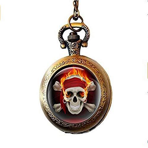 Pirat Skull Totenkopf Taschenuhr, Fire Skull Head Uhr Halskette, Bild Anhänger Halskette, Geschenk