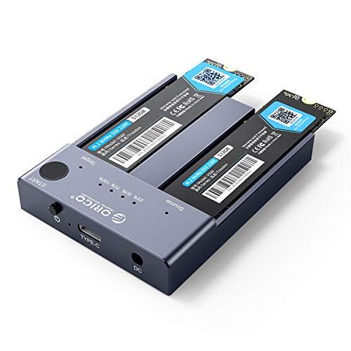 ORICO NVMe Dockingstation Dual- Bay 10Gbits mit Offline-Clone Duplikatorfunktion,USB C NVME SSD 2 Fach Gehäuse für M-Key PCIe 2242 2260 2280 22110 M.2 SSD, Werkzeuglos (SSD Nicht Enthalten)-M2P2