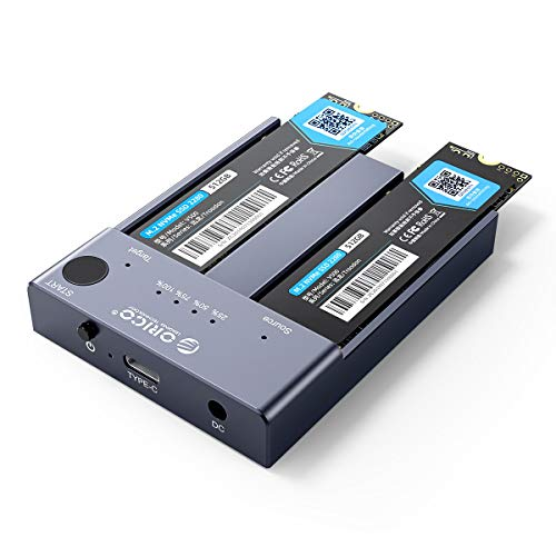 Dual-Bay NVME Docking Station, ORICO Tool-Free USB C to NVME SSD Enclosure for M Key NVMe PCIe 2242 2260 2280 22110 M.2 SSDs, Support Offline Clone Duplicator Function Up to 10Gbps(SSD NOT Include)