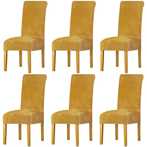 LANSHENG Stretchy Stuhlbezüge für Esszimmerstühle, Stretch Spandex mit Gummiband Stuhlbezug,Velvet Large Dining Chair Schonbezüge für Restaurant Hotel Party Bankett (Senf,6 Pack(M))