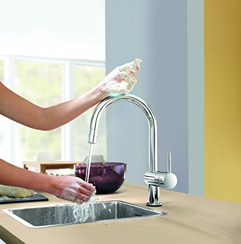Grohe – Minta Küchenarmatur, Schwenkbereich 360°, herausziehbare Brause, C-Auslauf - 4