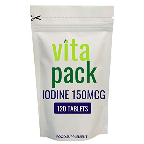 Iodine Supplements 150mcg Tablets - 120 Pack - for Pregnancy & Thyroid Health - Suitable for Vegans - UK Made by Naked Vitamins