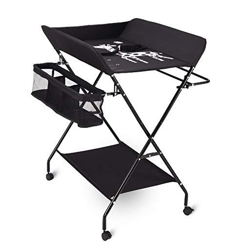 WishY Multifunktionaler Baby-Wickeltisch, zusammenklappbar, tragbar, Baby-Massageliege, Grau Standard Schwarz