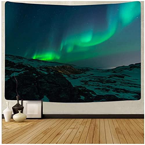 Tapiz by BD-Boombdl Hermoso cielo verde Aurora decoración colgante de pared revestimiento de pared alfombra decoración del hogar cojín de fondo 59.05'x51.18'Inch(150x130 Cm)