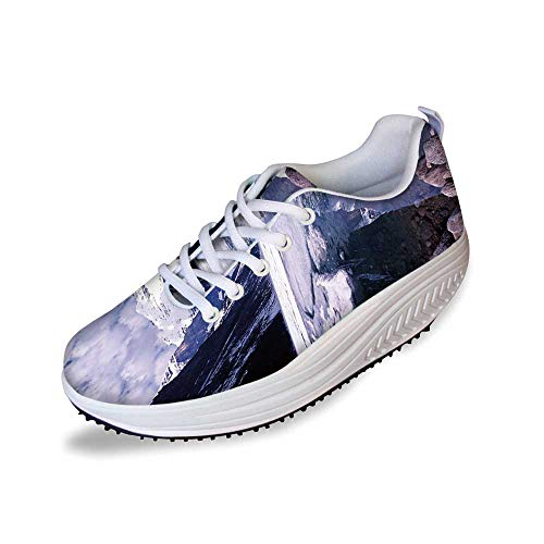 Winter Stylish Shake Shoes,Lake Louise Alberta Canada Tourist Attraction Landscape Mountains Travel Vacation for Women,7