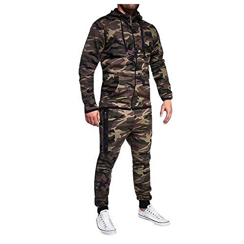 theshyer Chaqueta de otoño e invierno para hombre, ropa deportiva informal, estilo de camuflaje, suéter con capucha, pantalón, traje