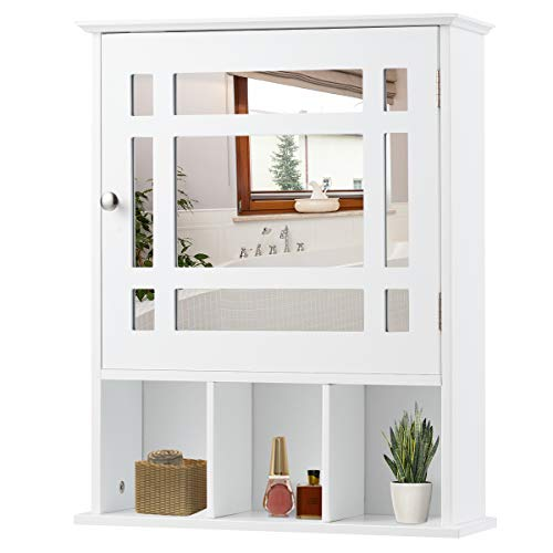 RELAX4LIFE Badezimmerschrank, eintüriger Spiegelschrank mit 3 offenen und 2 geschlossenen Fächer, Hängeschrank mit Spiegel & verstellbarem Einlegeboden, bis zu 43 kg belastbar, 50 x 16 x 61 cm, weiß