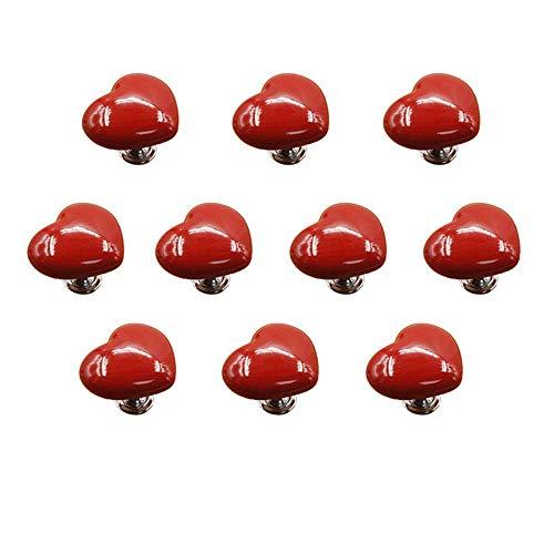 COLiJOL Manija de Puerta Manija de Hardware de Muebles de un Solo Orificio Manija de 10 Perillas de Color Manija en Forma de Corazón Armario Cajón Manija de Puerta,Talla Única,Rojo