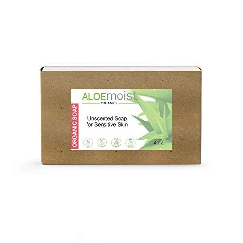 Aloemoist Organic Soap Bar | Body Soap, Hand Soap, Face Wash, Shampoo Bar | Unscented Bar Soap for Sensitive Skin with Virgin Coconut Oil, Vitamin E, A, D, Anti Wrinkle Antioxidants – Handmade Soap