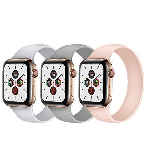 Seltureone (3 unidades) Pulsera compatible con Apple Watch Band 38 mm 40 mm 42 mm 44 mm Loop todo en uno banda de repuesto de silicona deportiva para iWatch SE, Serie 6 5 4 3 2 1 Sport Edition (S/M/L)