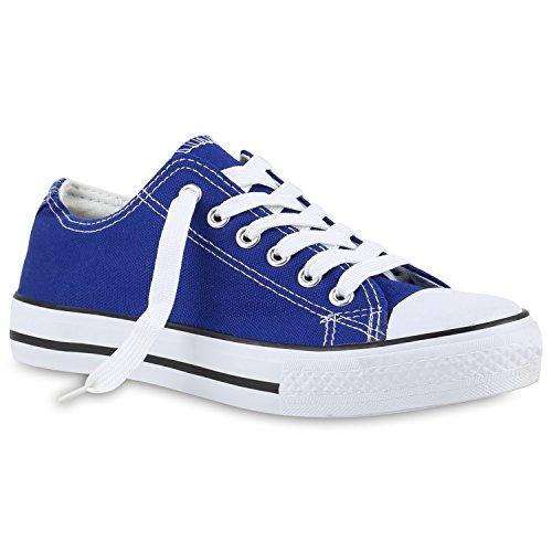 stiefelparadies Damen Schuhe 139925 Sneakers Blau Weiss 37 Flandell