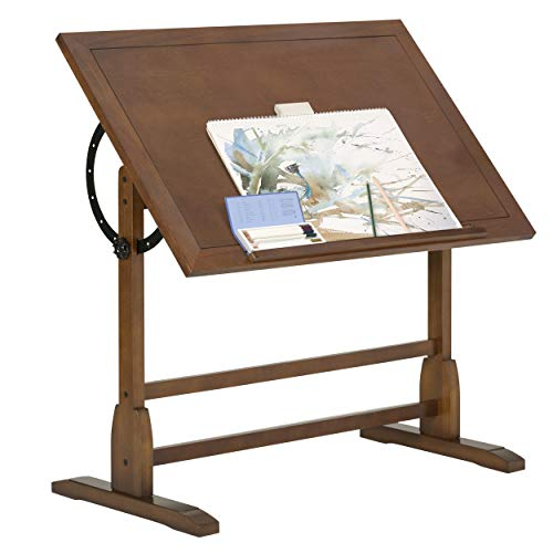Studio Designs Vintage Rustic Oak Drafting Table, Top Adjustable Drafting Table Craft Table Drawing Desk Hobby Table Writing Desk Studio Desk, 42''W x 30''D