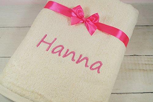 ★ Handtuch mit Namen bestickt ★ Duchtuch ★ Geschenk mit Schleife ★ 550 g/m2 ★ (Creme, 70 x 140 cm)