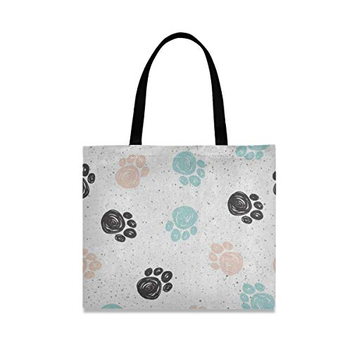 Canvas Tote Bag Dog Paw Print Watercolor Large Heavy Duty Canvas Reusable Grocery Shopping Bag with Interior Zipper Pockets Great Shoulder Beach Bags for Womens Girls Kids Crafts