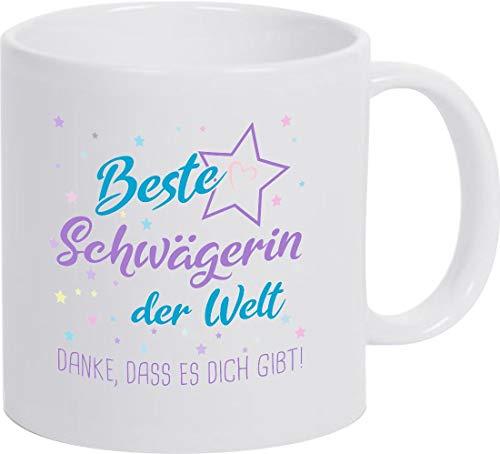ShirtInStyle, Geschenkset, Tasse beste Schwägerin der Welt, danke das es dich gibt! Farbe weiß