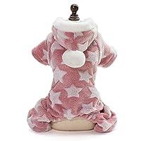 COLOGOペット服 ドッグウェア つなぎ 可愛い 春夏秋 部屋着 パーカー パジャマ もこもこ 脱着便利 通気 デニム ボーダー ペット洋服 (2XL, ピンク)