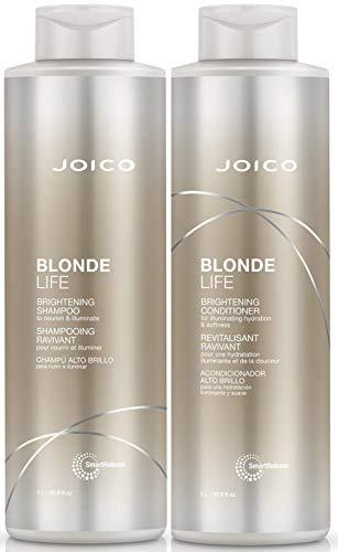 Joico Blonde Life aufhellendes Shampoo & Pflegespülung, 1000ml, 2er-Set + inklusive Pumpen, für Blondes/Graues/Platinfarbenes Haar, mit Anti-Rotstich-Effekt
