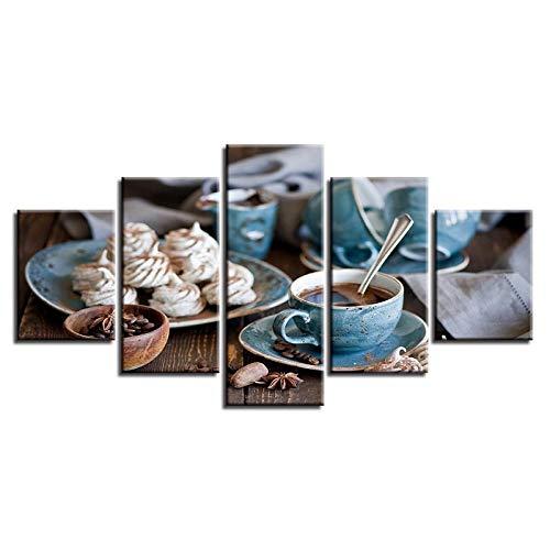 QZGRQ Cuadros de Lienzo decoración del hogar Impresiones modulares HD 5 Piezas Pinturas de Tazas de café Cartel de té de la Tarde Fino Arte de Pared de Cocina