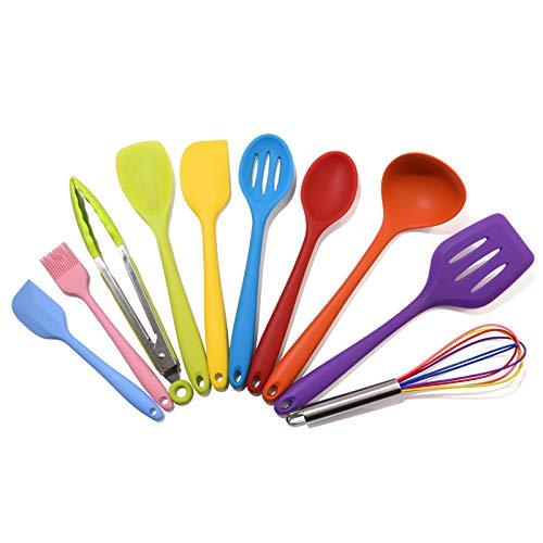 LBHH 10 Utensilios de Cocina Juego de Utensilios de Cocina de Silicona Espátula,Cuchara,Batidor,Pinza para Espagueti,Olla de Espatula de Silicona para Cocina Profesional Grande,Food Tongs