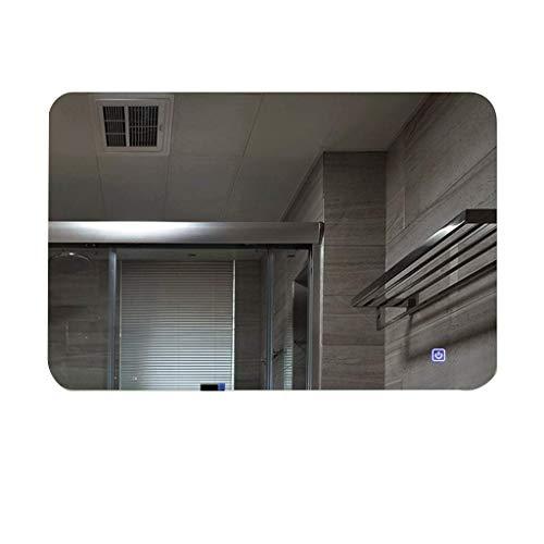 ZBY Espejo de Baño con Maquillaje de Filete Led Espejo de Tocador Montado en la Pared con Interruptor Táctil Antiniebla a Prueba de Explosiones,60X80Cm | Luz Blanca