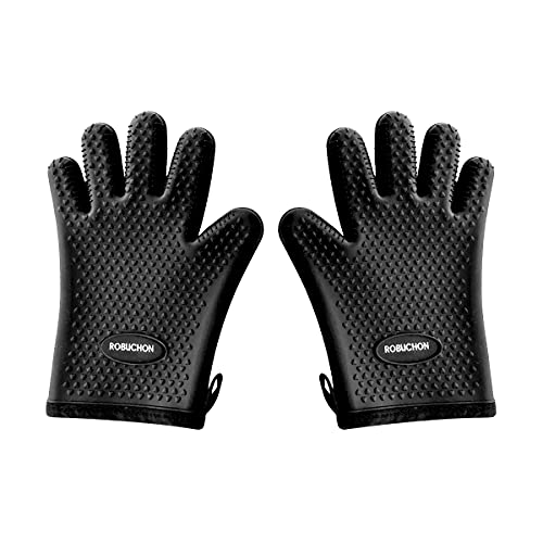 """Robuchon Silicone Oven Mitts, """"A Cook's Dream"""" – The Best Oven Mitts: Heat Resistant & Lined for Extra Comfort – Oven Mitt for BBQ, Oven, Toaster, Pizza & Microwave - Hot Oven Gloves for Men & Women"""