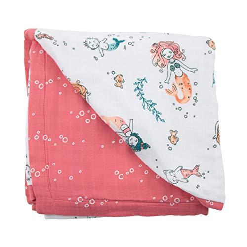 Bebe au Lait Oh So Soft Muslin Snuggle Blanket Set - Mermaids and Bubbles
