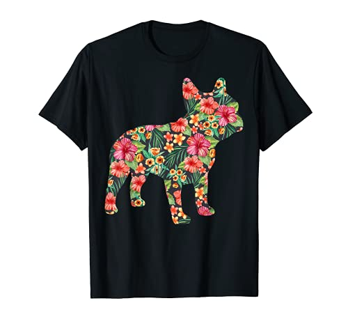 French Bulldog Flower T shirt Floral Frenchie Dog Silhouette T-Shirt