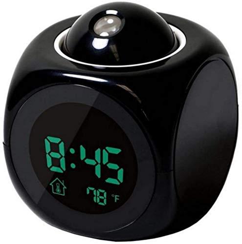 Sveglia LCD Proiezione Display a LED Tempo Sveglia digitale Messaggio vocale parlante Termometro Funzione snooze Scrivania Bianco-Nero