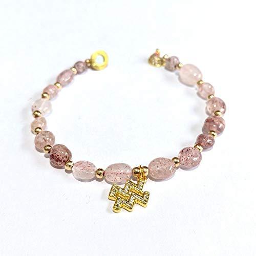 NUANYANG Modetrend zwölf Sternbild Halskette Armband Set Naturstein Erdbeer Kristall perfekt Damen Geschenk-Erdbeer Kristall Wassermann Armband