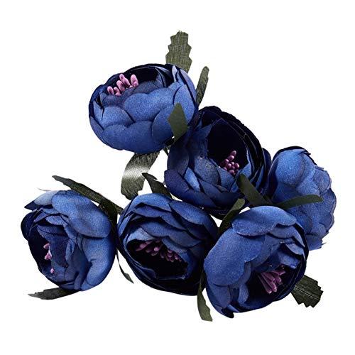 LNSTORE 6 Teile/los Simulation Seidenblumenstrauß Brautstrauß Dekoration Blume (blaues und lila Herz) Langlebig und schön