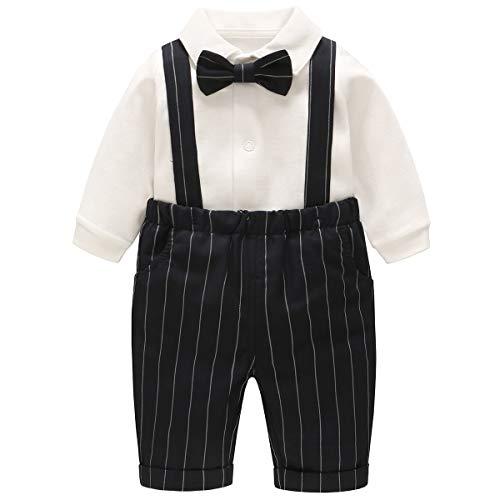 famuka Ropa para Bebé Niños Traje Camisa + Pantalón Vestido de Caballero (Negro, 12-18 meses)