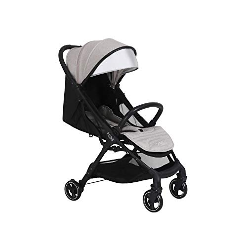 Tutti Bambini Momi Stroller Pushchair Suitable from Birth to 22kg Lightweight Compact One Hand Fold System in Black/Charcoal