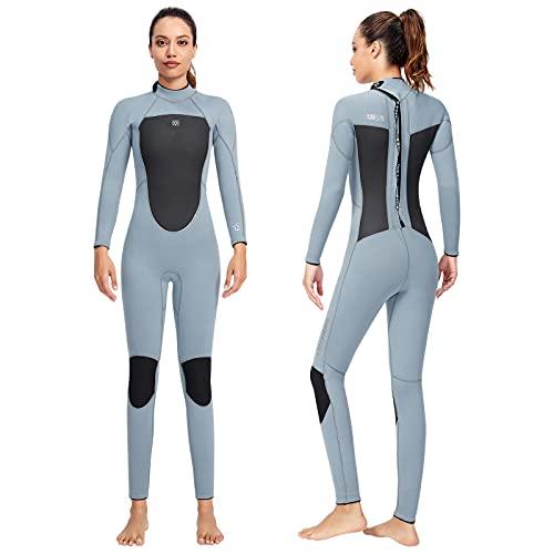 Wenlia Traje de Neopreno para Mujer, 3MM Neopreno Trajes de Surf Cálido Traje de Buceo Completo de Manga Larga Una Pieza Wetsuit con Cremallera Trasera para Buceo, Surf, Natación